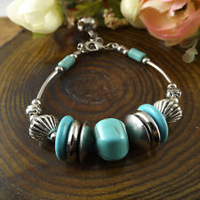 NEW Free shipping Jewelry Tibet silver jade turquoise bead DIY bracelet S271