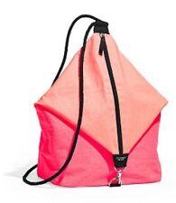 Victoria's Secret Neon Hot Pink Coral Orange Barrel Tote Backpack Drawstring Bag