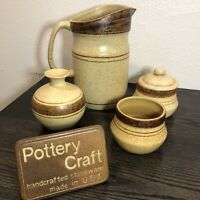 4 Pieces Of Vintage Pottery Craft USA Lg Pitcher, Bud Vase, Lidded Sugar & Bowl