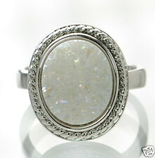 Solid 925 Sterling Silver White Druzy Rope Design Cocktail Ring Size 9 '
