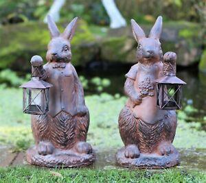 Garden Ornament Rabbit Hare Tea Light Home Decor indoor outdoor Rust Effect 39cm