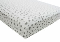 1x Cot Bed 100% Cotton Jersey Fitted Sheet 140x70cm Grey Star