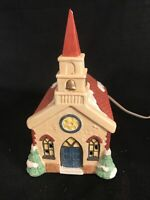 """ST. MARY'S LIGHTED VINTAGE CHURCH 1991 National Decorations 8"""" X 6"""" X 5"""" in VGC"""