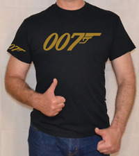 007,JAMES BOND,GOLD,GOLDFINGER, LOGO,FUN,T SHIRT