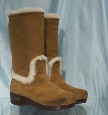 "Nice Beige Suede LUCKY BRAND 13"" Faux Fur Lined Boots Sz 8.5M US 38 1/2 EU"