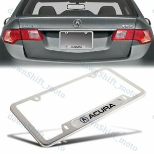 1PCS For ACURA Silver Metal Stainless Steel License Plate Frame MDX RDX TSX TL