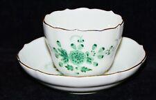 Mokkatasse Espressotasse Meissen,Indisch grün, handgemalt, Goldrand, 1. Wahl