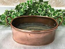 Antico Vittoriano Ottone Rame & TWIN gestiti OVALE pot fioriera in rame/Pan
