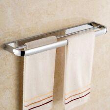 Polished Chrome Wall Mounted Bathroom Square Double Towel Bar Towel Rack Rail