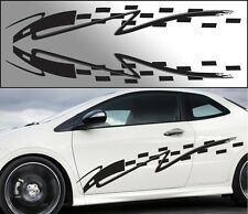 """Universal Flame Car Pinstripe Racing Side Graphics Decals 60""""x9.5"""" (Check001)"""