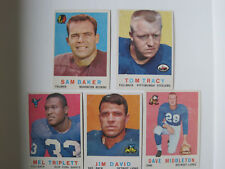 Five 1959 Topps Football Cards Very Good Condition Sam Baker Tom Tracy