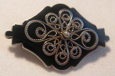 Vintage Hallmarked -  IVAR T. HOLT Norway Black Enamel Filigree Sterling Brooch