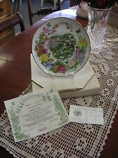 """DOT BARLOWE PLATE """"JAPANESE GARDEN"""" GOLD TRIM 1988 RECO COLLECTORS PLATE"""