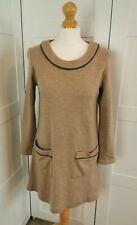Me & Em Beige And Grey 100% Wool Jumper Dress UK 12 With Pockets