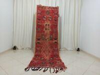 """Handmade Vintage Moroccan Carpet 2'88""""x 8'98""""Feet Red Pink Green Berber Wool Rug"""