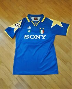 Maglia JUVENTUS vintage 1996 , DEL PIERO 10 Champions league , TG L , blu Sony