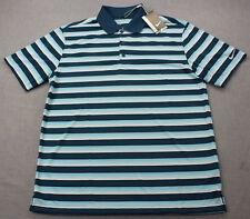 Nike Golf Logo Mens Teal & White Striped Dri-Fit Stay Cool Polo Shirt NWT M  $65