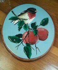 Vintage Painting of Bird on Apple Tree Branch Signed S. Olson '98 on Wood