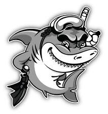 Shark Diver Cartoon Car Bumper Sticker Decal 5'' x 5''