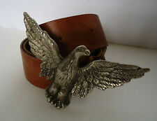 Vtg 70s Thick Wide Leather Belt Big Eagle Belt Buckle 36-39 L