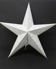 Star Light Lamp White Geometric Design Star Paper Lantern with 12' light cord