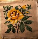 Vintage Needlepoint Tapestry Look Yellow Rose Square Green Leaves Tan Background
