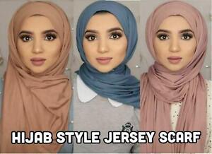 New Women Top Quality Big Large Plain Jersey Hijab Scarf Shawl Wrap Stretchy Uk
