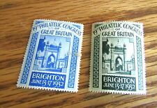 2 - 1932 GREAT BRITAIN PHILATELIC CONGRESS STAMPS 19TH ANNUAL HELD IN BRIGHTON