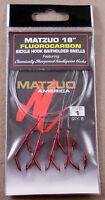 "1 Pack Of 6 Size #1 Red MATZUO 18"" Fluorocarbon Sickle Hook Baitholder Snells"