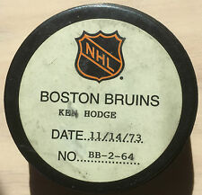 NHL Ken Hodge Boston Bruins Goal Puck with certification Montreal Canadians