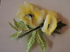 "Vtg Millinery Flower Collection 4-5"" Yellow Poppy Tropical Foliage Japan H1896"
