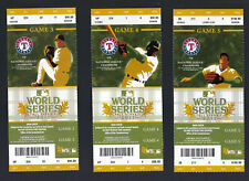 2011 WORLD SERIES CARDINALS @ RANGERS FULL UNUSED TICKETS INCLUDES  PUJOLS 3 HRS