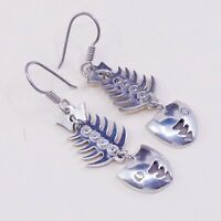 Vintage Mexico TM-212 Sterling 925 Silver Handmade Fish Bone dangle earrings