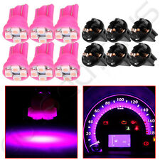 6X Pink Purple T10 Wedge LED Bulbs+Twist Lock For Dodge Dash Panel Cluster Light