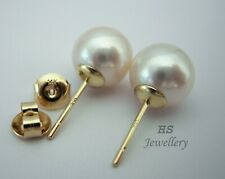 HS Round South Sea Cultured Pearl 10mm Stud Earrings 14K Yellow Gold Top Grading