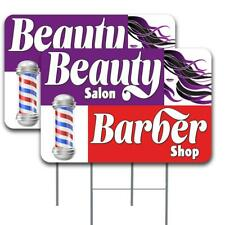 Beauty Salon Barber Shop 2 Pack Double Sided Yard Signs 16 X 24 With Metal Sta