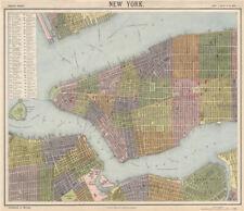 NEW YORK CITY town map plan. Lower/midtown Manhattan Brooklyn. LETTS 1889