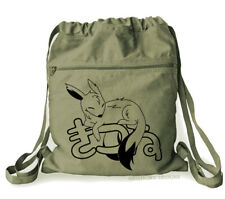 Sleepy Fox Backpack Kawaii Bag kitsune japan cute canvas khaki green anime