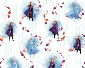DISNEY Frozen Anna & Elsa on white 100% cotton kids digital print snow FQ fabric