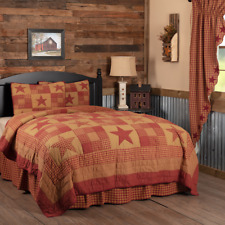 Farmhouse Rustic Primitive Country Ninepatch Star Queen Quilt & Shams Set