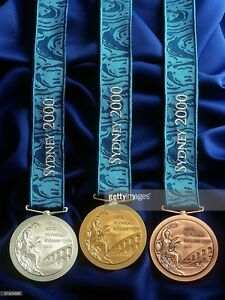 2000 Sydney Olympic Medals Set:Gold/Silver/Bronze with Silk Ribbons & Display !!
