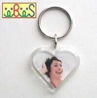 25x Blank Heart Shape Clear Acrylic Keyrings 31mm Photo Size (key ring) G1512