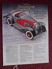 1988 Print Ad Danbury Mint Diecast Replica ~ The Duesenberg SSJ Car Automobile