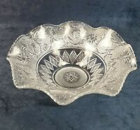 """Duncan & Miller Glass Early American Sandwich 11 ½"""" Crimped Console Flower Bowl"""