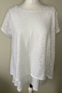 Phase Eight White Floral Lazer Cut Layered Tshirt Top Size 16