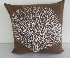 Hamptons White Painterly Coral on Brown Cotton Cushion Cover 45cm