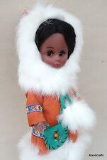 Doll Eskimo Inuit Canada 12in Souvenir Suede Parka Rabbit Fur Trim Sheepskin