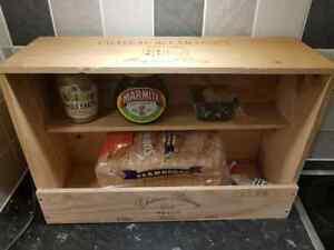 Handmade French Wooden wine box BREAD BIN Station Kitchen Organiser tidy