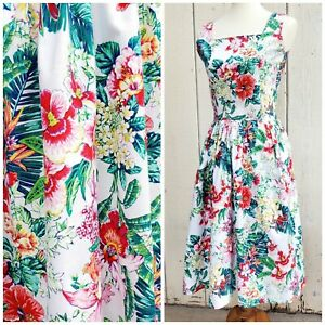 Vintage Hawaiian Floral Fit and Flare Full Skirt Summer Sun Dress Size US 0 XXS