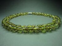Vintage Antique Bohemian 2-Row Olive Green Lampwork Glass Tube Bead Necklace RAR